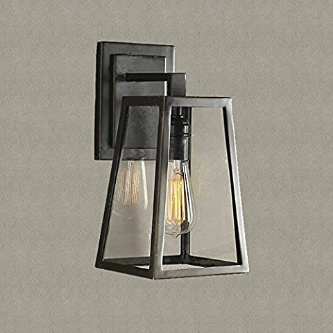 NIUYAO Wall Lamp Square Outdoor Wall Sconces Fixture Glass & Metal Wall Lights with 1 Light-Bronze