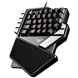 Guanwen One-Handed Gaming Keyboard, Mechanical Feel Respirador de 7 Colores retroiluminado Mini 38 Teclas ergonómico Esports Single Keyboard para PC portátil