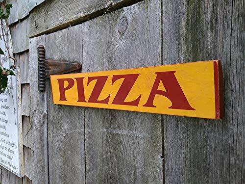 Monsety Holzschild für Zuhause, Pizza aus Holz, bemalt, Shabby Used-Look, Lebensmittelwagen, Küche, Messezeichen, Restaurantschild, Lebensmittel-LKW, Schild zum Aufhängen, Türschild, Geschenk -