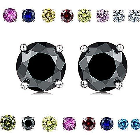 Coppia di bellissimi colori dell'arcobaleno, con cristallo taglio a brillante, di diamante in argento Sterling, orecchini Unisex (0.50Ct. 5,5