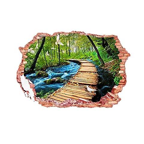 3D Sticker Mural PVC Autocollant Motif Piste En Forêt Ornement Chambre Maison