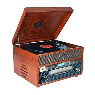 1byone Tourne-Disque en Bois Nostalgique Lecteur de Disque avecAM / FM , CD, Enregistrement MP3 sur USB, Aux Input pour Smartphone , Tablette et Sortie RCA Home et cinéma par 1byone