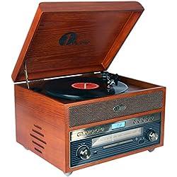 1byone tocadiscos nostalgic de madera Bluetooth reproductor de discos de vinilo con AM / FM, CD, grabación de MP3 a USB, entrada AUX para smartphones y tablets y salida RCA