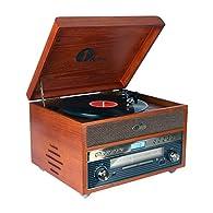 Giradischi 1byone vintage classico in legno marrone