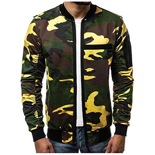 Xmiral Jacke Herren Tarnung Langarm Sweatshirt Sweatjacke Slim Fit Reißverschluss Mantel Herbst Winter Outwear mit Taschen(a Grün,L)