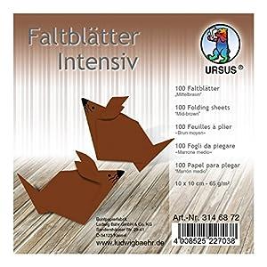 Ursus 3146872Plegable Hojas Uni, 65g/m², Aprox. 10x 10cm, 100Hojas, Color marrón Medio