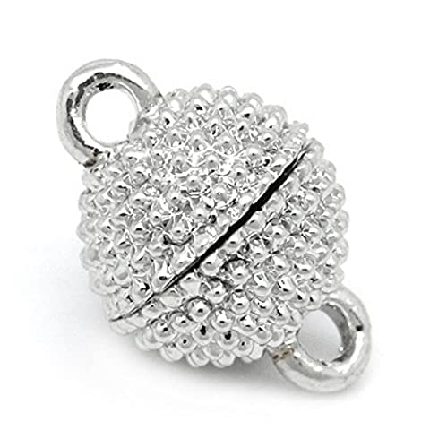 Housweety 10 Sets Silver Tone Magnetic Clasps 13x9mm(4/8