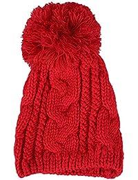 Amurleopard Bonnet tricot a pompon homme femme chapeau unisexe hiver chaud Rouge taille unique