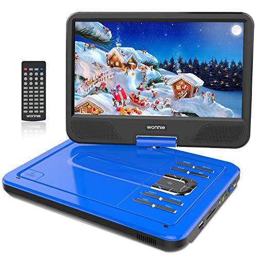 WONNIE 12.5' Lecteur DVD Portable écran Rotatif de 10,5' à 270°, Carte SD Prise USB Charge directe Formats/RMVB / AVI / MP3 / JPEG, Parfait Enfants (Bleu)