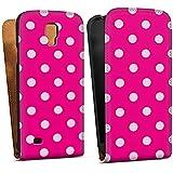 Samsung Galaxy S4 Active Tasche Schutz Hülle Walletcase Bookstyle Polka Pünktchen Pink Muster