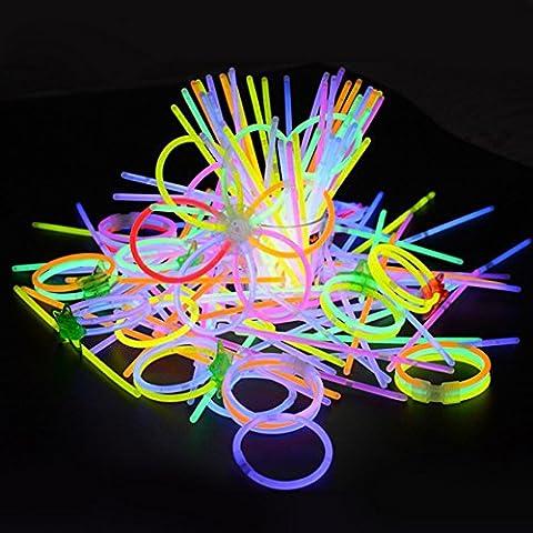"""100pcs Bâtons Lumineux Fête Pack, Kwock 8 """" Prime Bracelets Colliers, Kits à Créer Des Lunettes, Bracelets Triples, Bandeau, Boucles D"""