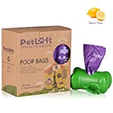 PetLoft 120-count durevole biodegradabile ecosostenibile Dog Waste bag, lavender-scented Poop bag con epi-technology, dosatore incluso (15Bags/roll, 8rotoli)