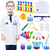 INNOCHEER Kids Science Experiment Kit with Lab Coat Scientist Costume Dress Up and Role Play Toys Gift for Boys Girls Kids Age 5 - 11 Christmas Birthday Party