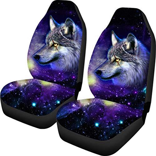 Coloranimal 3D Galaxy Wolf Pattern 2er-Set Autositzbezug Komplettes Zubehör für Auto Fit Mehr Autos LKW Geländewagen Fashion Automoive 100% atmungsaktiv