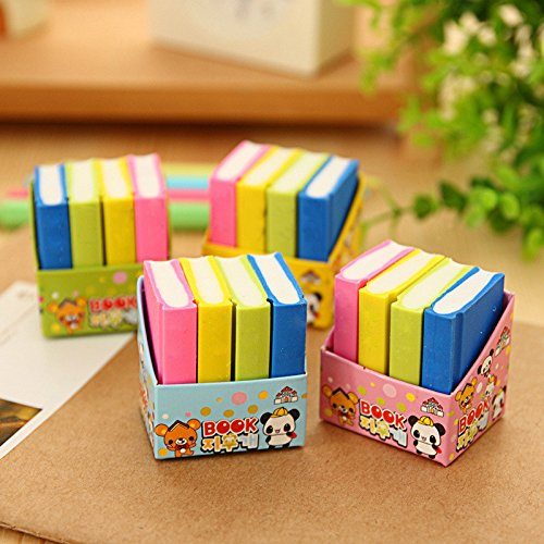 Infinxt Stylish Book Style Eraser for School Kids Return Gift ( 3 Set, 12 Eraser)