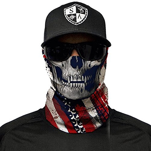 SA Fishing Company Face Shield Sturmhaube viele verschiedene Designs Multiunktionstuch Maske Fishing Totenkopf Schal Skull Bandana Gesichtsmaske Halstuch Ski Motorrad Paintball Halloween Maske (USA Skull) (Usa Skull Cap)