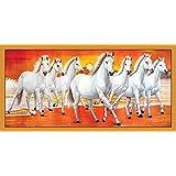 Graphics World Vastu Poster White 7 Horse Vastu Poster, Wall Sticker, Wall Painting, Washable Vinyl Sticker Poster, Natural Sticker, Home Decor, Office Decor Photo, Wallpaper (36 X 18 Inch)