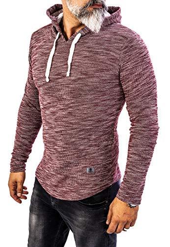 Rock Creek Herren Longsleeve Shirt Langarm Hoodie Sweatshirt Kapuzenpullover Langarmshirt Herrenpulli Street Style H-143 Weinrot M Oversize-kapuze