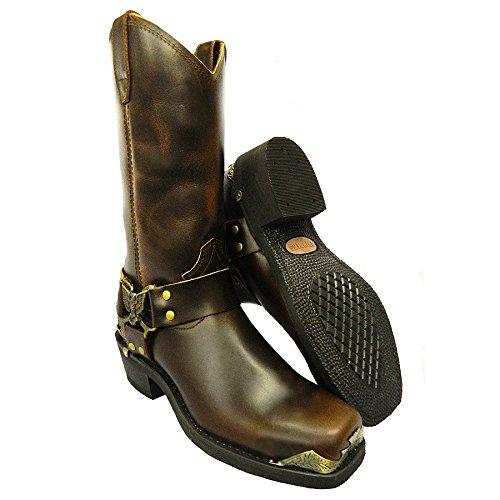 : cow-boy en eAGLE femme cuir hI bottes de motard Marron