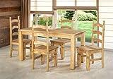 Massivholzmöbel Kuckuck Sitzgruppe Garnitur mit Esstisch 140x80cm + 4 Stühle Mexico Holz Pinie massiv in Brasil