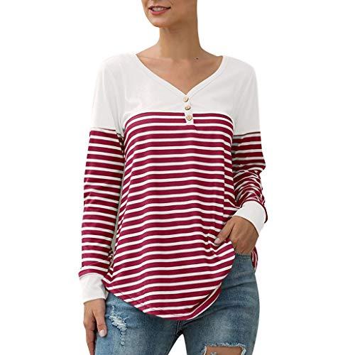 Gestreiftes Damen - Langarm - Sweatshirt Pullover Knopfleiste mit V - Ausschnitt Henley - T - Shirts Farbblock - Tunika - Oberteile Lady Fall Beiläufige aktive Oberteile Bluse Leichtgewicht (T-shirt Henley Erwachsene Weiße)
