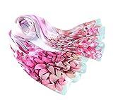 Prettystern - 180 cm de largo lirios Damenschal handrolled 100% pasteles de tela de seda - lirios de color rosa