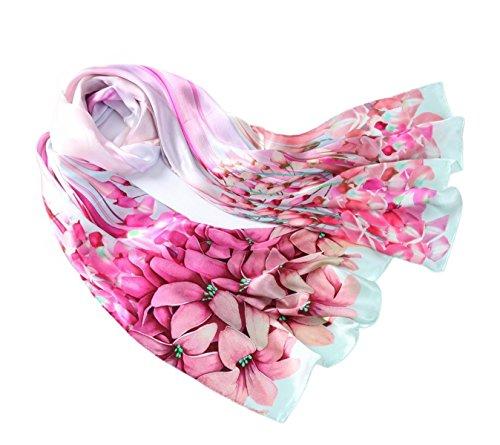 Prettystern 180cm langer Damenschal Lilien handrolliert 100% Seide Tuch Pastelltöne - Lilien pink