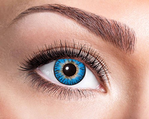 Natürliche, farbige Kontaktlinse tiefblau, Jahreslinse, 14,5 mm ohne Dioptrin