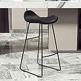 YANYDO Semplice Bar Stool, Moderno, Metallo, Bar Sedia, Cuscino PU, Multifunzionale Cafe Sdraio da Spiaggia, Ufficio Tea Room Chair (Color : Black-Black Legs, Size : 75cm)
