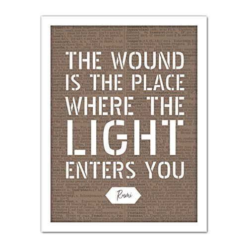 Dictionary Quote Rumi Wound Light Enters Artwork Framed Wall Art Print 18X24 Inch Citar Ligero Pared