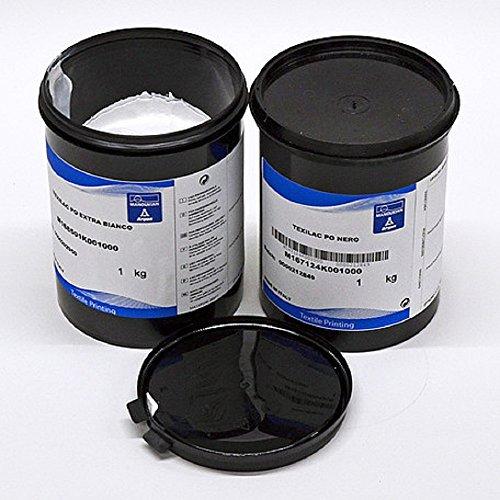 AGX Hochdeckende, wasserbasierende Siebdruckfarbe für Dunkle Stoffe (Weiss, 1 kg) -