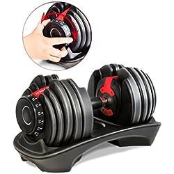 Mancuerna ajustable Sportstech 15en1-Mancuerna con un innovador sistema de clic para 2,5-24 kg,la AH200 con anillo de agarre de seguridad y mango antideslizante combina 15 mancuernas. Uno o dos conjunto (AH200 Conjunto de 1)