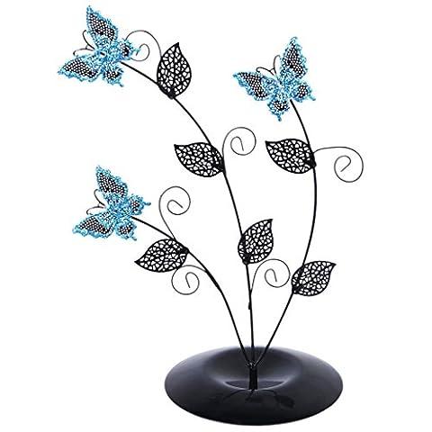 Organisateur de Bijoux Présentoir Emballage Boucles d'Oreilles Arbre à Papillons Bleu