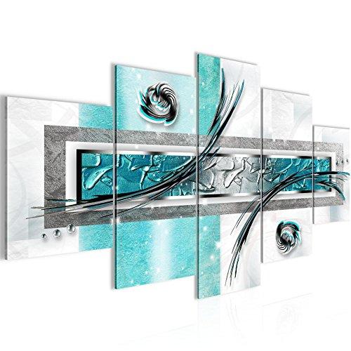 Photo abstrait Décoration Murale 200 x 100 cm Toison - Toile Taille XXL Salon Appartement Décoration Photos d'art Bleu 5 Parties - 100% MADE IN GERMANY - prêt à accrocher 108151a