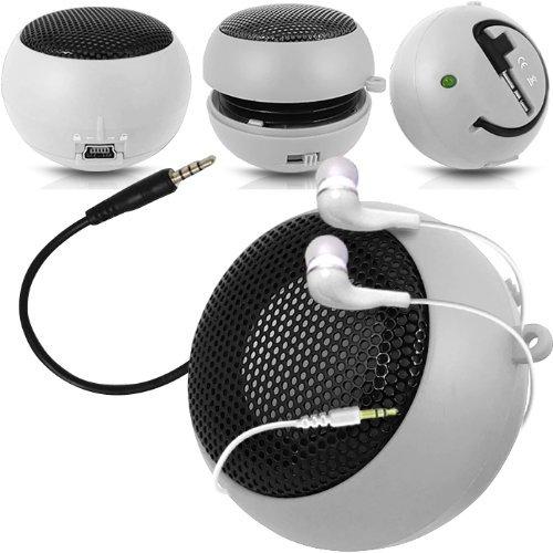 Preisvergleich Produktbild C63 ® für Nokia Asha 210-Kapsel-Lautsprecher Bass-Lautsprecher (aufladbar,  3, 5 mm-Klinkenstecker auf 3, 5-mm-Eingang & In-Ear-Kopfhörer,  Weiß
