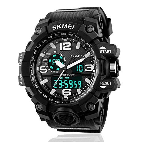 Men Digital Sport Watch Running Outdoor Casual Analogue 50M Waterproof Electronics Durable Wrist Watch Cool Fashion Military Design Large Dual Dial Watches Wristwatch with Alarm Stopwatch - Black