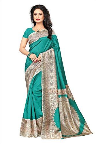 Kimisha Kalamkari Saree Mysore Silk (Turquoise_Printed Saree)