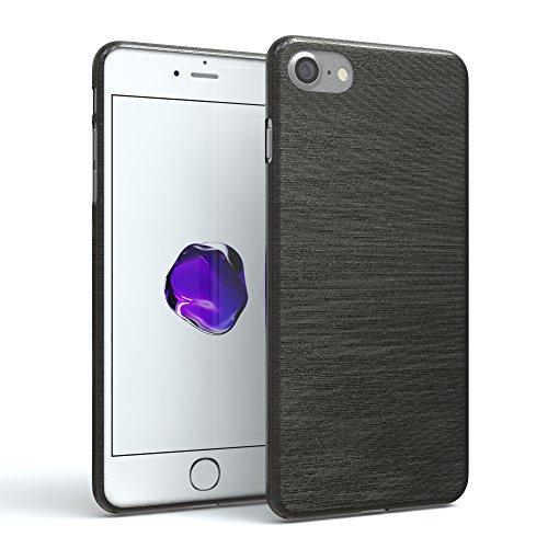EAZY CASE Hülle für Apple iPhone 7/8 Schutzhülle Silikon, gebürstet Slimcover in Edelstahl Optik, Handyhülle, TPU Hülle/Soft Case, Backcover, Silikonhülle Brushed, Anthrazit