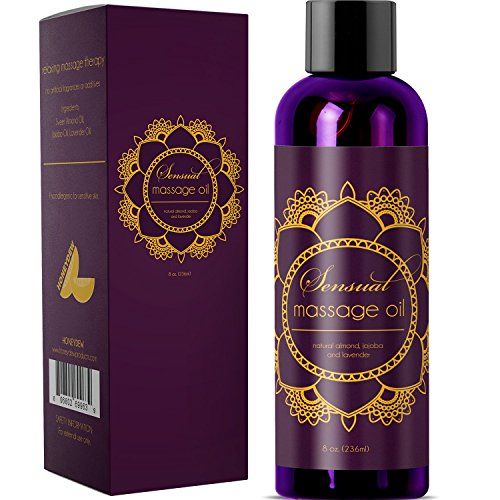 Sensual Massage Oil w/ Pure Lavender Oil - Relaxing Almond & Jojoba Oil - Women & Men - 100% Natural Hypoallergenic Skin Therapy - USA Made
