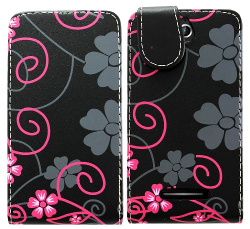 sony-xperia-e-c1505-pu-leather-magnetic-flip-case-skin-cover-pouch-grey-flower-and-black-flip
