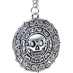 Medallón para pulsera o collar con colgante en forma de calavera.