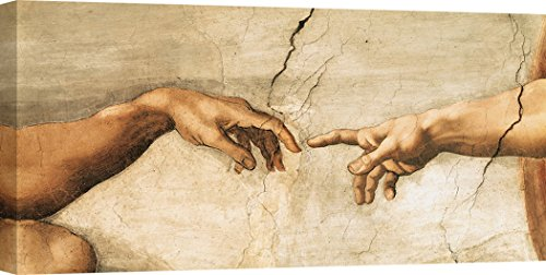Art Print Cafe - Kunstdruck auf Leinwand - Michelangelo Buonarroti, Die Erschaffung Adams (détail) - 140x70 cm - Cafe Leinwand