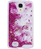 Coque pour Samsung Galaxy S4, ISAKEN Transparente Liquide Paillette Brillante Plastique Arrière Protecteur Dur Etui Housse de Protection Étui Coque Strass Case Cover pour Samsung Galaxy S4 SIV I9500 I9505 (Étoile Rose)