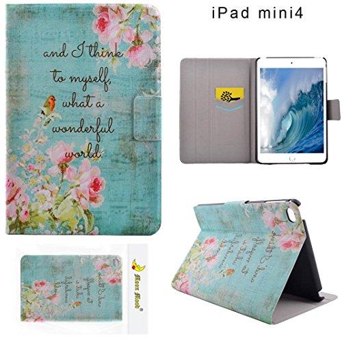 Preisvergleich Produktbild Moon mood reg; PU Leder Schutzhülle für Apple iPad Mini 4 (7.9 Zoll) Hart PC Innern Hülle mit Bunte Malerei 2 Kartenfächer Standfunktion Tasche (Pink Blume Vogel)