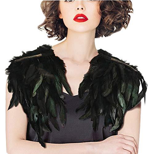SwirlColor Schal Schwarz Mode Feder Nähender Zutatkragen für Abendkleid Patei(Typ 2)
