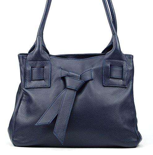 OH MY BAG Borsa pelle donna - Modello Noody - Borsa a mano e a spalla Blu scuro