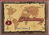 Kartenversand24 Set Einladung Kindergeburtstag Einladungskarten Schatzsuche Geocaching Schatzkarte Pirat - 12 Stück