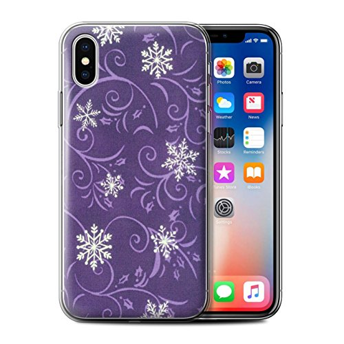 Stuff4 Gel TPU Hülle / Case für Apple iPhone X/10 / Lila Muster / Schneeflocke-Muster Kollektion Lila