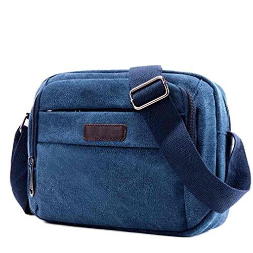 """BZLine® Männer Handtasche Schultertasche Outdoorsport Leinentasche Tasche , 24cm*18cm/9.4*7.1"""" Blau"""