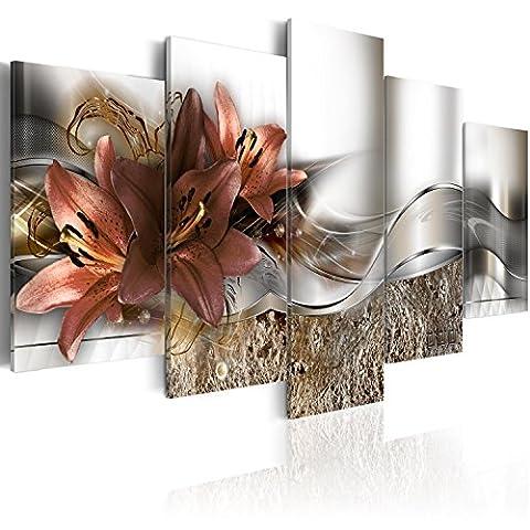 murando Bilder 200x100 cm - Leinwandbilder - Fertig Aufgespannt - Vlies Leinwand - 5 Teilig - Wandbilder XXL - Kunstdrucke - Wandbild - Blumen Lilien Abstrakt